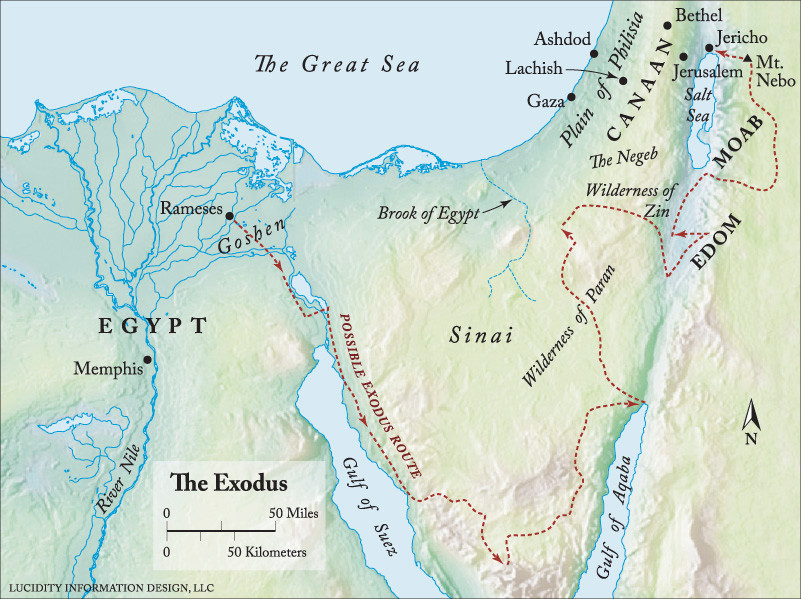 The route of Israel's Exodus and wilderness wanderings. From http://www.enterthebible.org/resourcelink.aspx?rid=1097