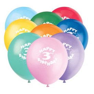 "Balloon Latex 12"" Happy Birthday 3Rd 6C"