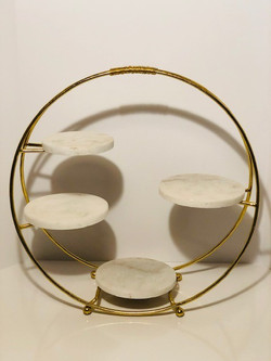 round gold marble stand