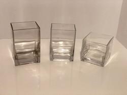 variety square glass vases