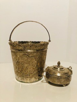 vintage silver bucket and sugar bowl