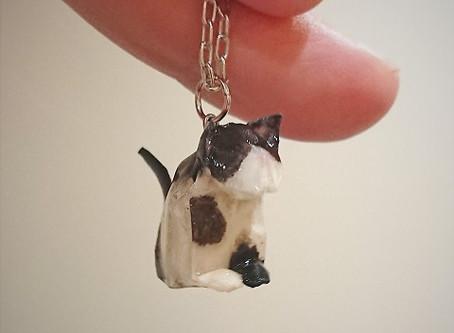 origami jewelry ねこネックレスと、ちいさなかみぶくろ