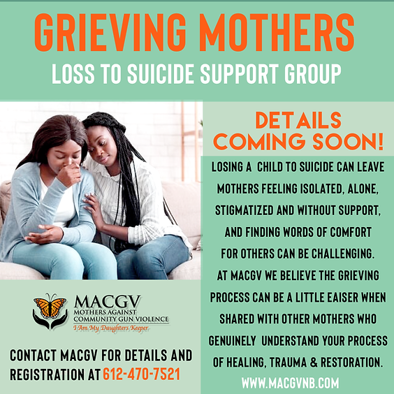 Grieving Mothers Loss to Suicide Support Group