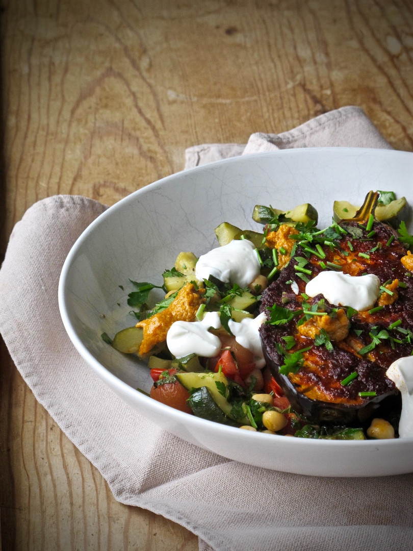 Harissa+Roasted+Aubergine+with+Herby+Cou