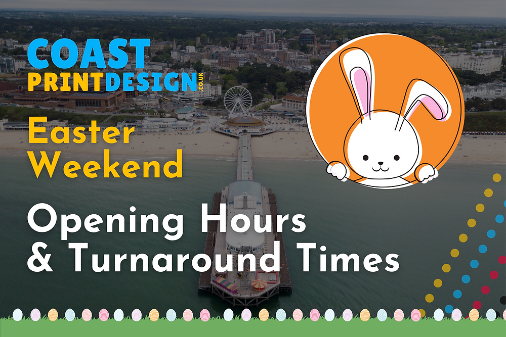 Over the Easter Weekend, we will be opening slightly differently and our turnaround times will be affected by bank holidays.