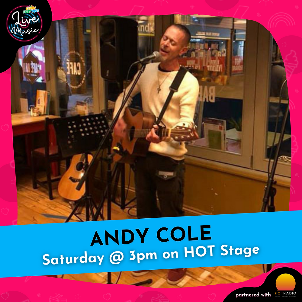 Andy Cole at Family Fest 2021 on Saturday 24th July at 3pm on HOT Stage in Wimborne, Dorset