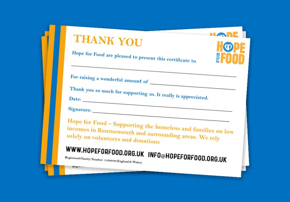 Hope For Food - Thank You Leaflet