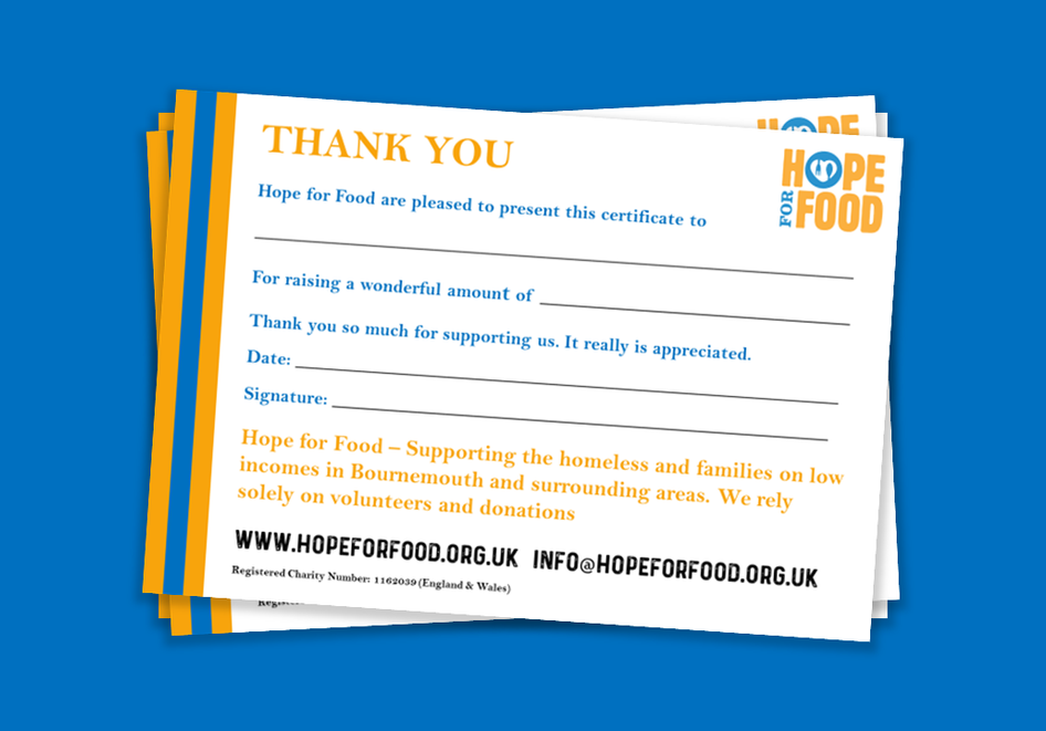 Hope For Food - Thank You Leaflet