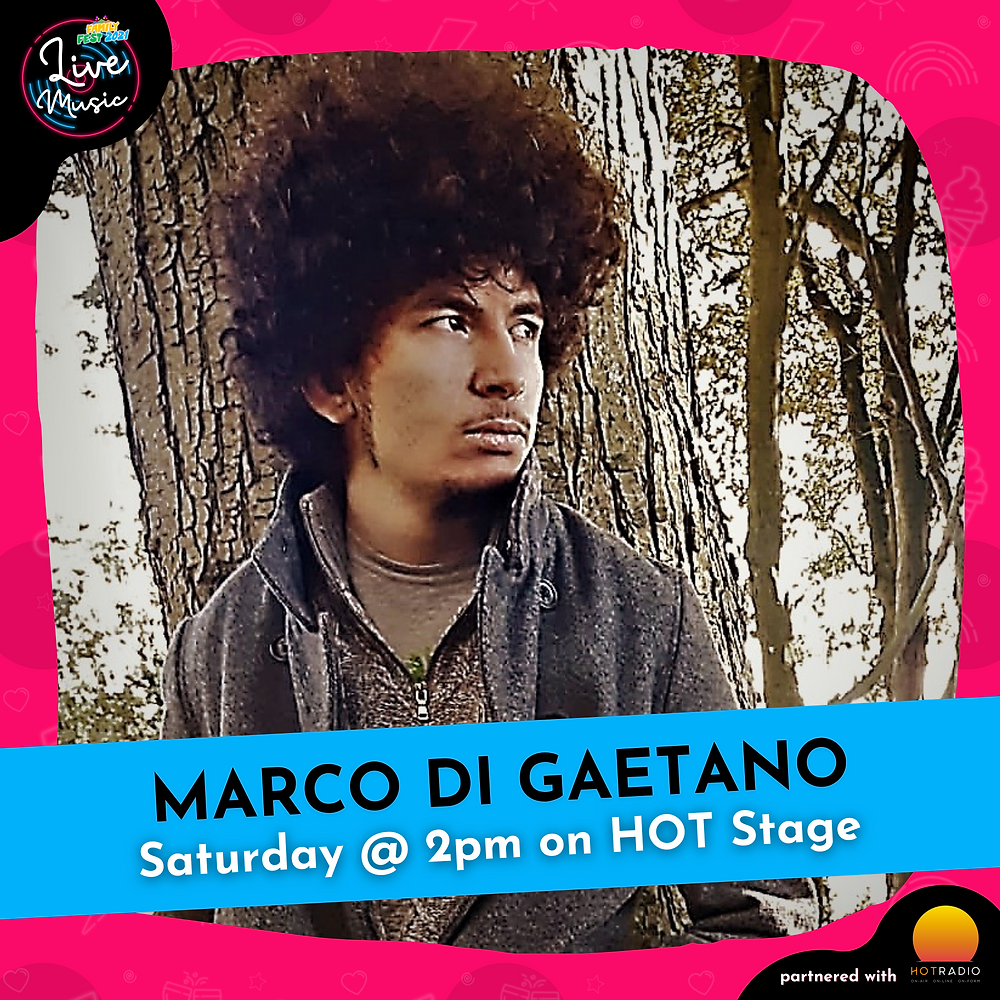 Marco Di Gaetano at Family Fest 2021 on Saturday 24th July at 2pm on HOT Stage in Wimborne, Dorset