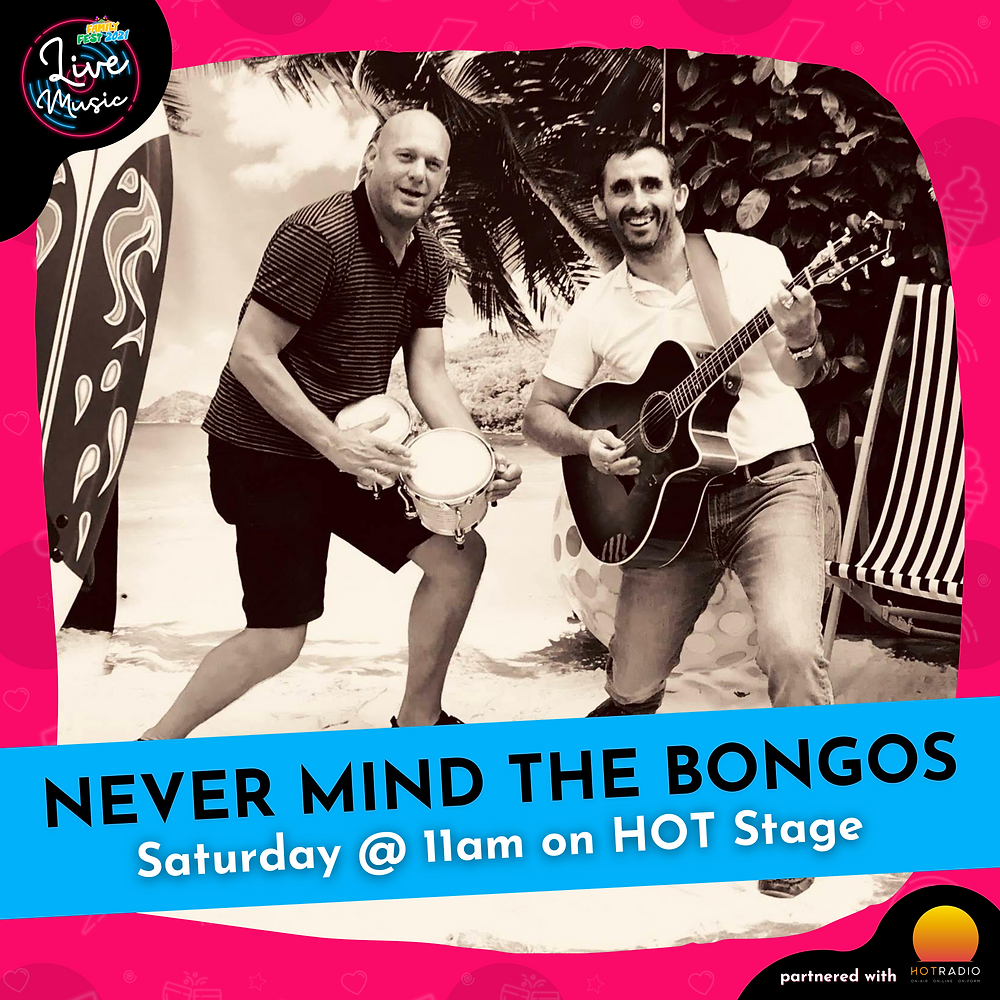 Never Mind The Bongos at Family Fest 2021 on Saturday 24th July at 11am on HOT Stage in Wimborne, Dorset