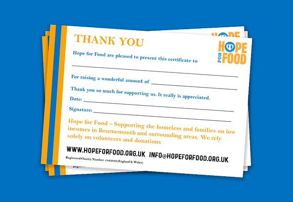 Hope for Food - Certificate
