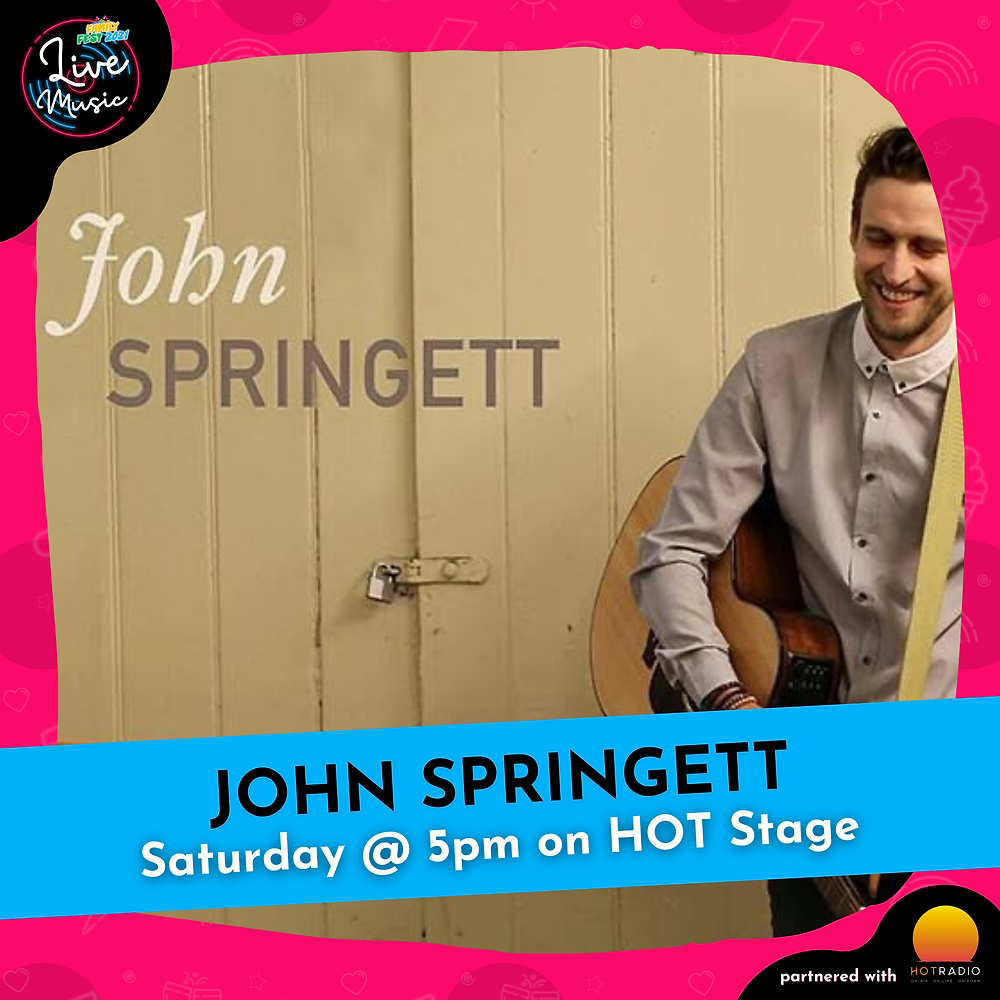 John Springett at Family Fest 2021 on Saturday 24th July at 5pm on HOT Stage in Wimborne, Dorset