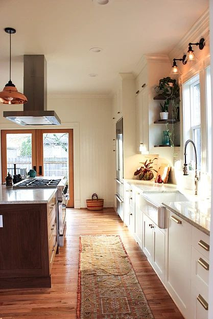 blossom interior design portland kitchen vintage schoolhouse lighting brass hardware