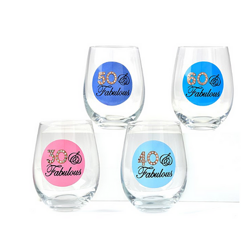 Milestone Birthday Wine Glass
