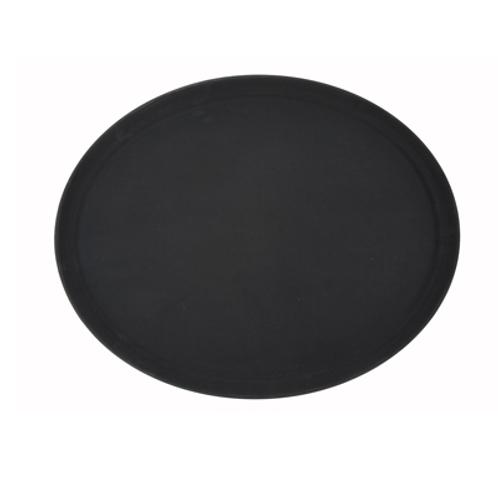 "Non-Skid 26"" x 22"" Oval Fiberglass, Black"