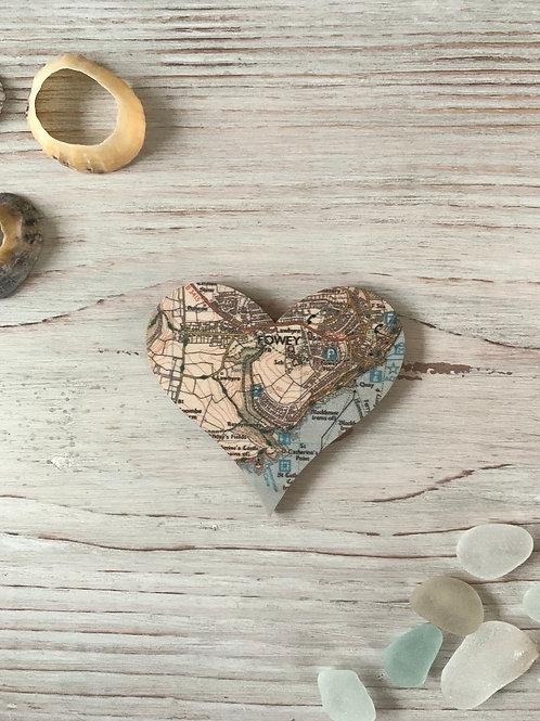 Wooden Fowey Heart Magnet
