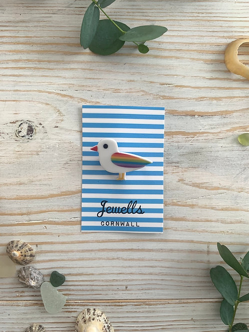 Limited Edition Rainbow Seagull Brooch/Magnet