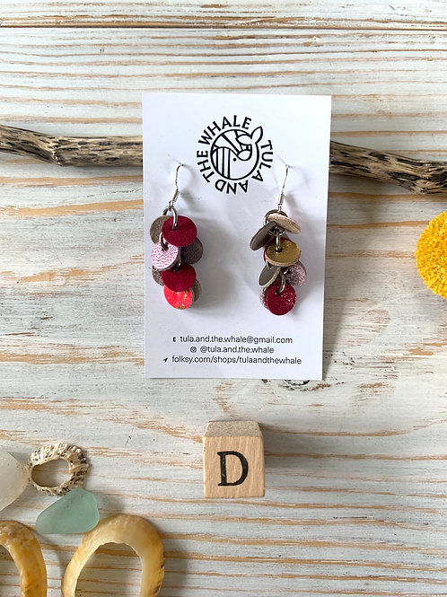 Short Disco Drop Upcycled Leather Earrings