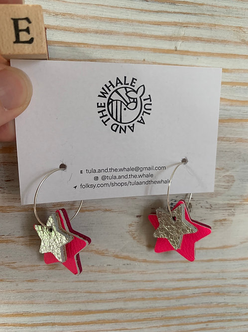 Double Star Hoop Upcycled Leather Earrings