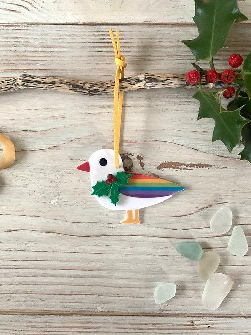 Giant Christmas Rainbow Seagull Decoration
