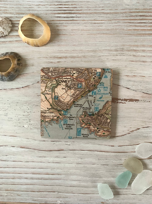 Wooden Square Fowey Magnet
