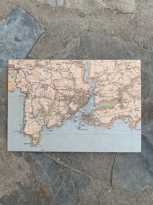 Wooden Fowey Map Placemat