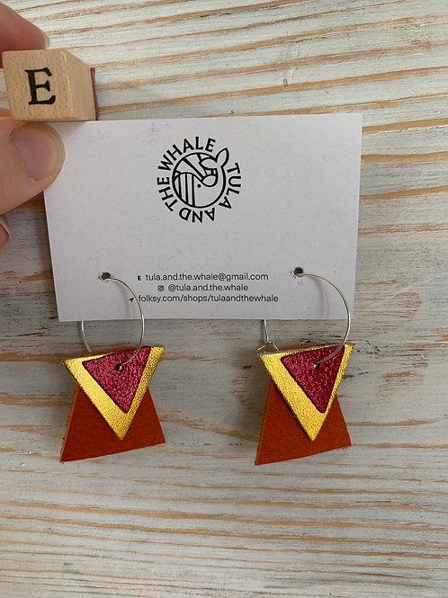 Geometric Hoop Upcycled Leather Earrings