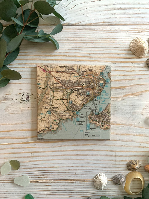Wooden Fowey Map Coaster