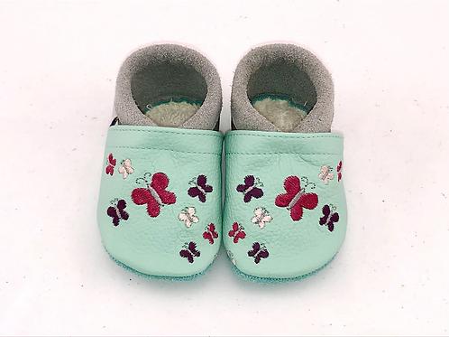 SK Kinderlederschuh Bestickt: Schmetterlinge