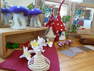 mini playspace fairies and felt mushroom