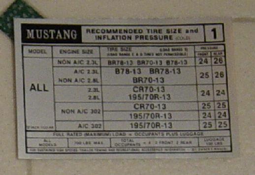 1974 1975 1976 1977 1978 Mustang II tire pressure decal