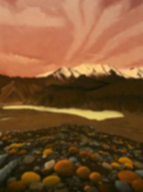 tausee, dewlake, pastel chalk, painting