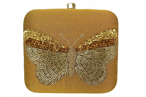 Golden Butterfly - Embroidered Clutch Bag