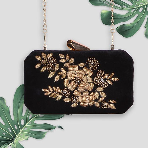 Gold Black Soiree - Embroidered Clutch Bag
