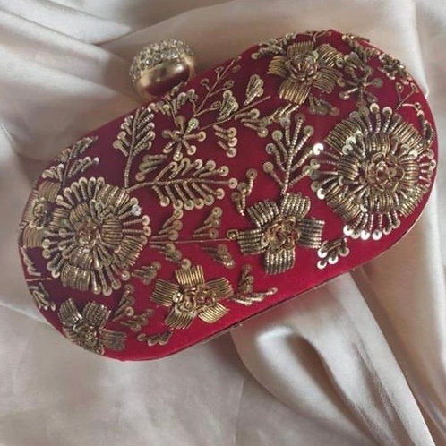 Sangria - Red Embroidered clutch bag