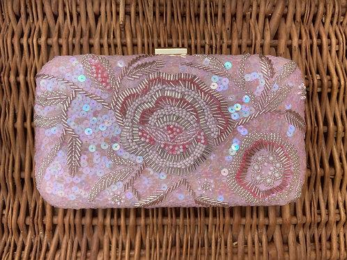 Blossoms - Baby Pink colour sequins clutch bag