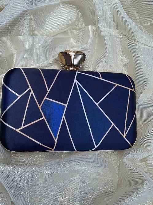 Azure - Printed blue and gold clutch bag