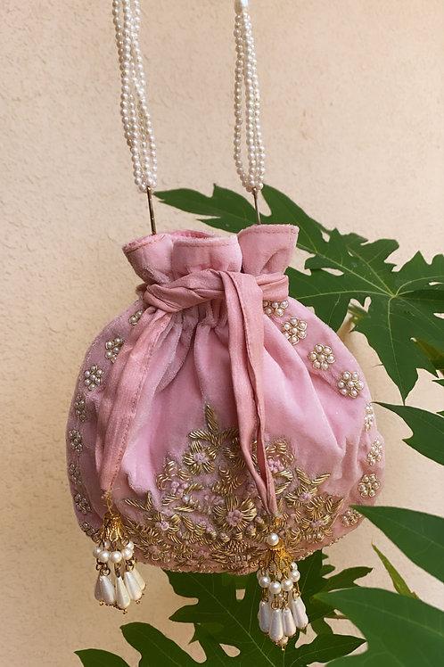 Rouche Pink Potli Bag