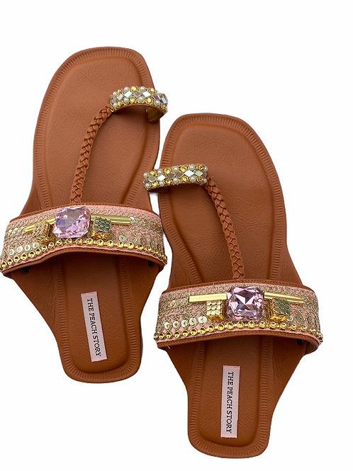 Pink Pop - Embroidered Kolhapuri Footwear