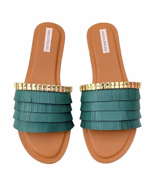 Turkish Fringe - Green Slider Footwear