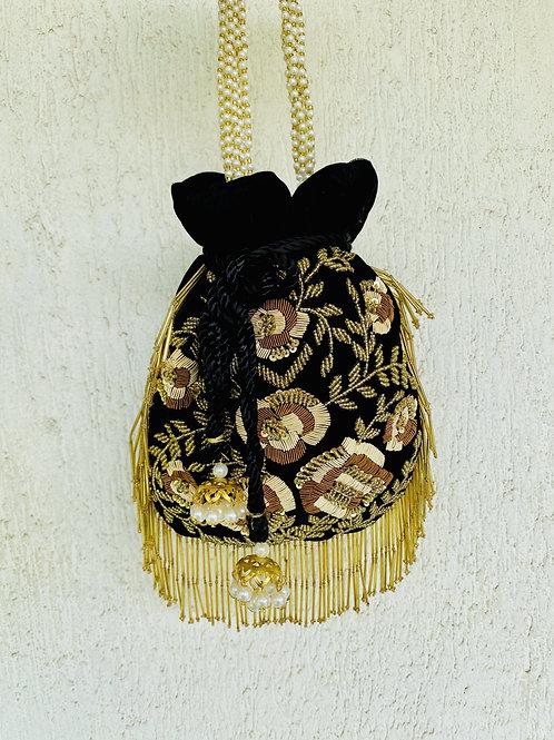 Midnight - Black and Gold Potli Bag