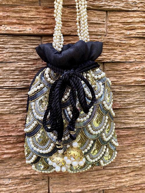 Jade Pearl- Blue and black Potli Bag