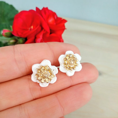 Small camellia flower, porcelain earrings with Gold 24K