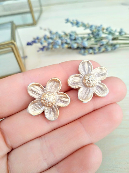 Spring flowers, porcelain earrings with Gold 24K