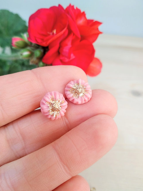 Tiny spring flower earrings made of pink porcelain and gold