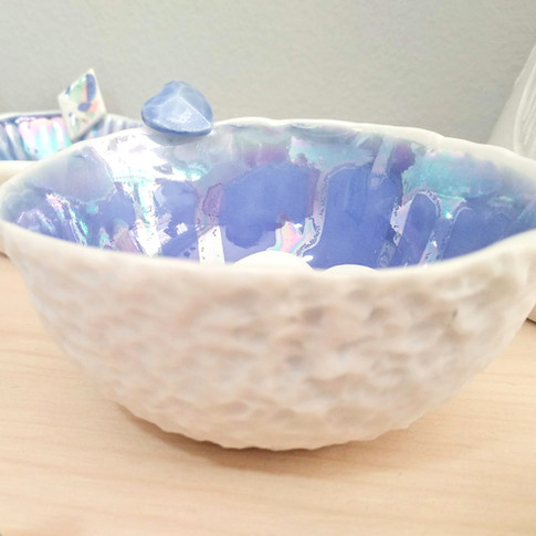 Porcelain bowl with sea blue glaze