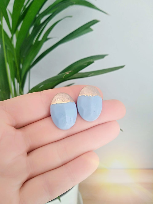 Blue porcelain gems with Gold 24K