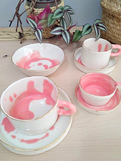 Dreamy handmade porcelain coffee-tea cup set & breakfast bowl (7 pieces)
