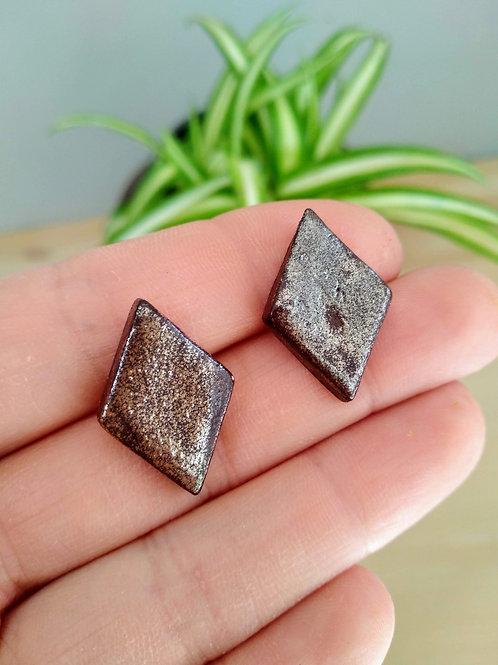 Baroque bronze stud earrings