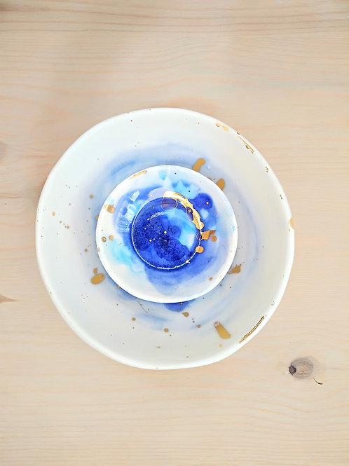 Porcelain dinnerware with Blue Watercolour splashes & Gold 24K details